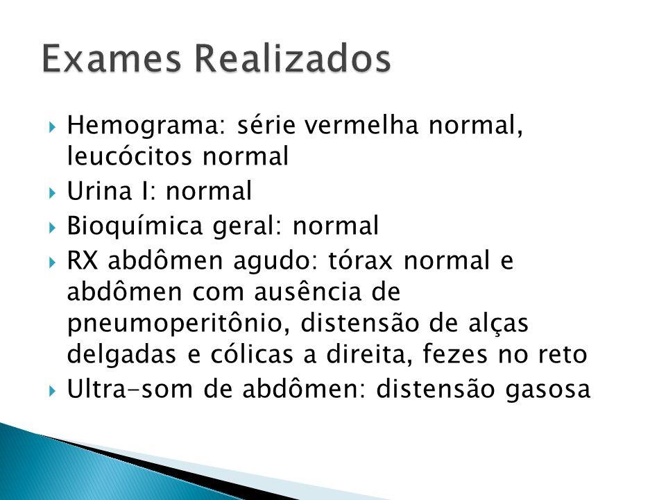  Hemograma: série vermelha normal, leucócitos normal  Urina I: normal  Bioquímica geral: normal  RX abdômen agudo: tórax normal e abdômen com ausê