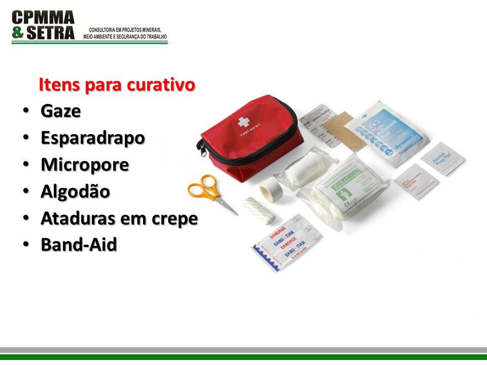 Itens para curativo Gaze Gaze Esparadrapo Esparadrapo Micropore Micropore Algodão Algodão Ataduras em crepe Ataduras em crepe Band-Aid Band-Aid
