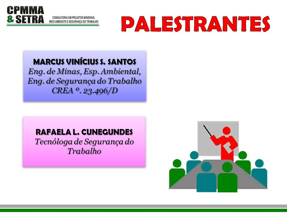 MARCUS VINÍCIUS S. SANTOS Eng. de Minas, Esp. Ambiental, Eng. de Segurança do Trabalho CREA º. 23.496/D MARCUS VINÍCIUS S. SANTOS Eng. de Minas, Esp.
