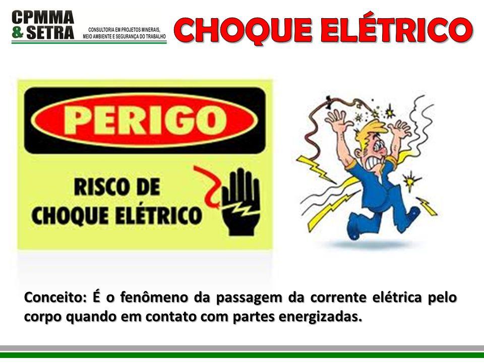 Conceito: É o fenômeno da passagem da corrente elétrica pelo corpo quando em contato com partes energizadas.
