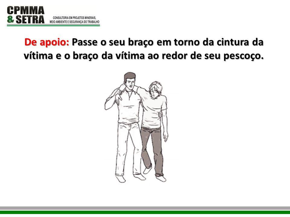 De apoio: Passe o seu braço em torno da cintura da vítima e o braço da vítima ao redor de seu pescoço.
