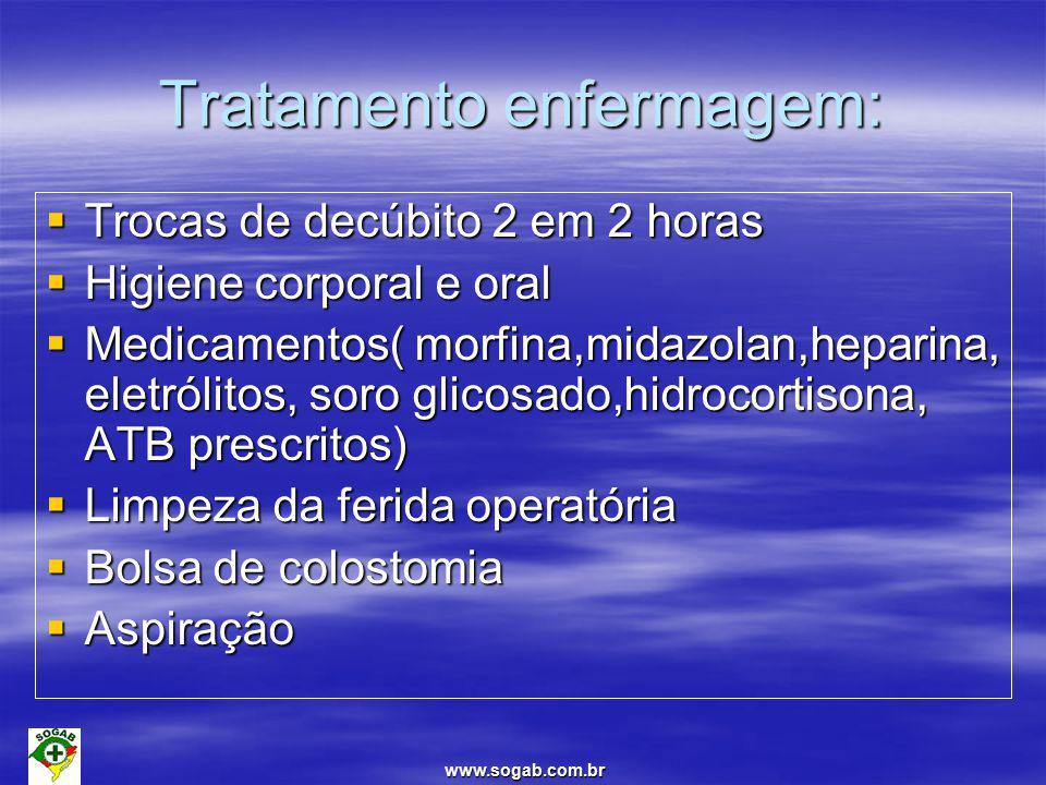 www.sogab.com.br Tratamento enfermagem:  Trocas de decúbito 2 em 2 horas  Higiene corporal e oral  Medicamentos( morfina,midazolan,heparina, eletrólitos, soro glicosado,hidrocortisona, ATB prescritos)  Limpeza da ferida operatória  Bolsa de colostomia  Aspiração