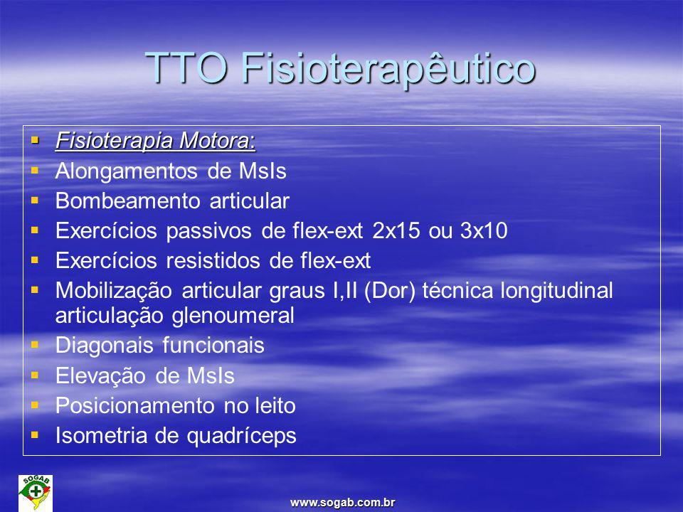 www.sogab.com.br TTO Fisioterapêutico  Fisioterapia Motora:   Alongamentos de MsIs   Bombeamento articular   Exercícios passivos de flex-ext 2x15 ou 3x10   Exercícios resistidos de flex-ext   Mobilização articular graus I,II (Dor) técnica longitudinal articulação glenoumeral   Diagonais funcionais   Elevação de MsIs   Posicionamento no leito   Isometria de quadríceps