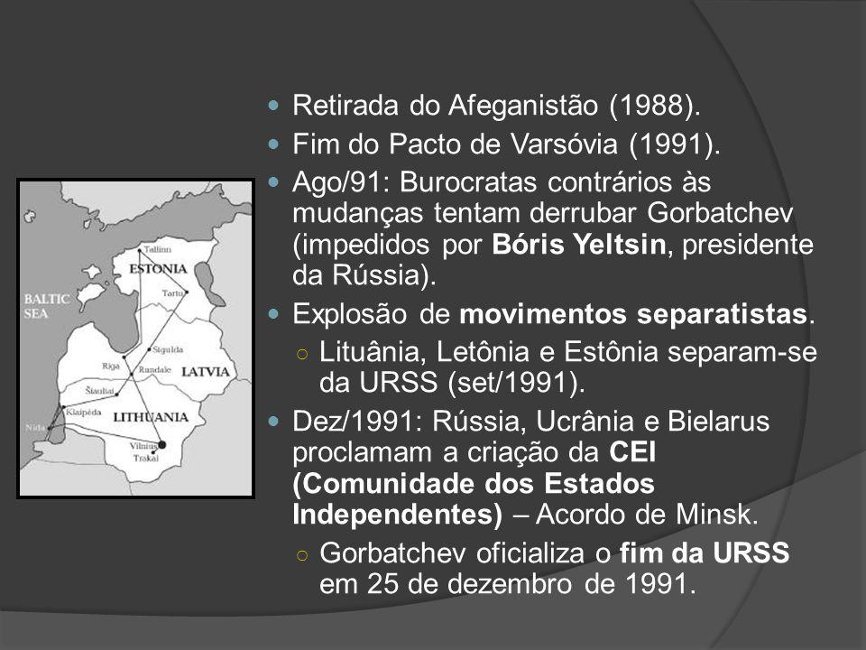 Retirada do Afeganistão (1988). Fim do Pacto de Varsóvia (1991). Ago/91: Burocratas contrários às mudanças tentam derrubar Gorbatchev (impedidos por B