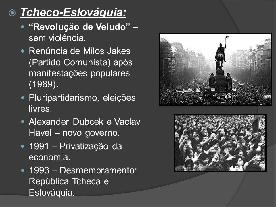 """ Tcheco-Eslováquia: """"Revolução de Veludo"""" – sem violência. Renúncia de Milos Jakes (Partido Comunista) após manifestações populares (1989). Pluripart"""