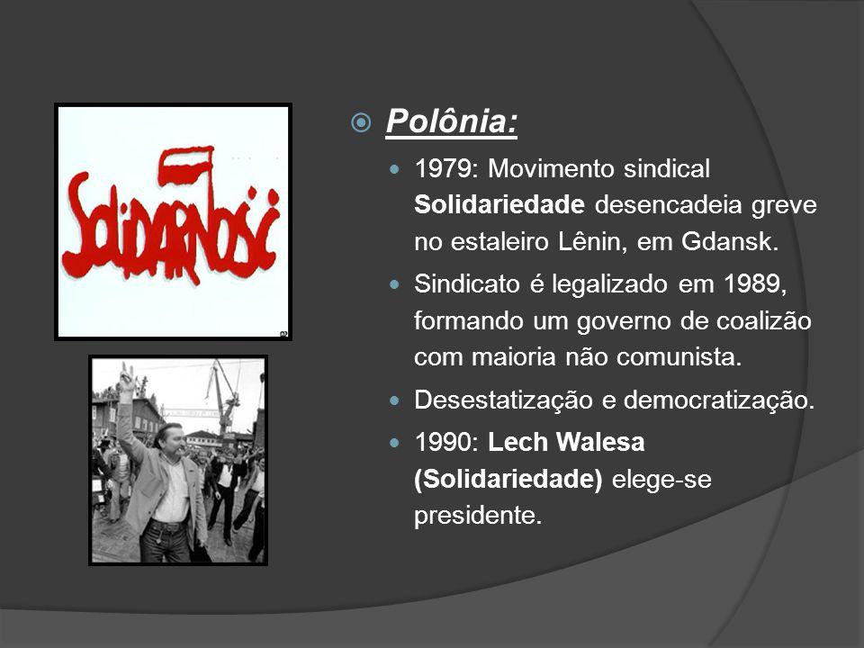  Polônia: 1979: Movimento sindical Solidariedade desencadeia greve no estaleiro Lênin, em Gdansk. Sindicato é legalizado em 1989, formando um governo