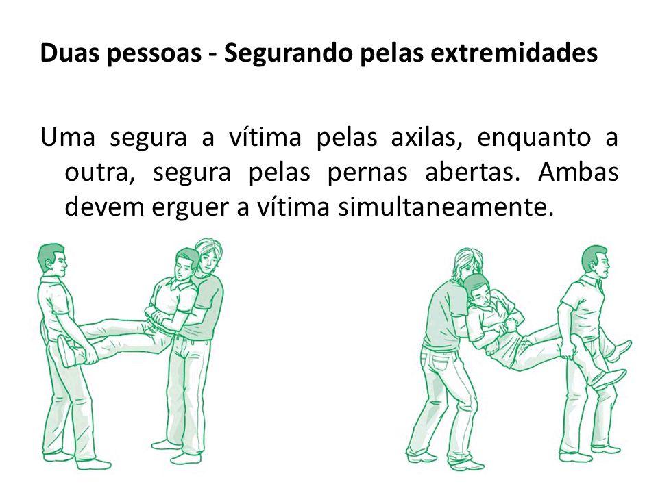 Duas pessoas - Segurando pelas extremidades Uma segura a vítima pelas axilas, enquanto a outra, segura pelas pernas abertas. Ambas devem erguer a víti