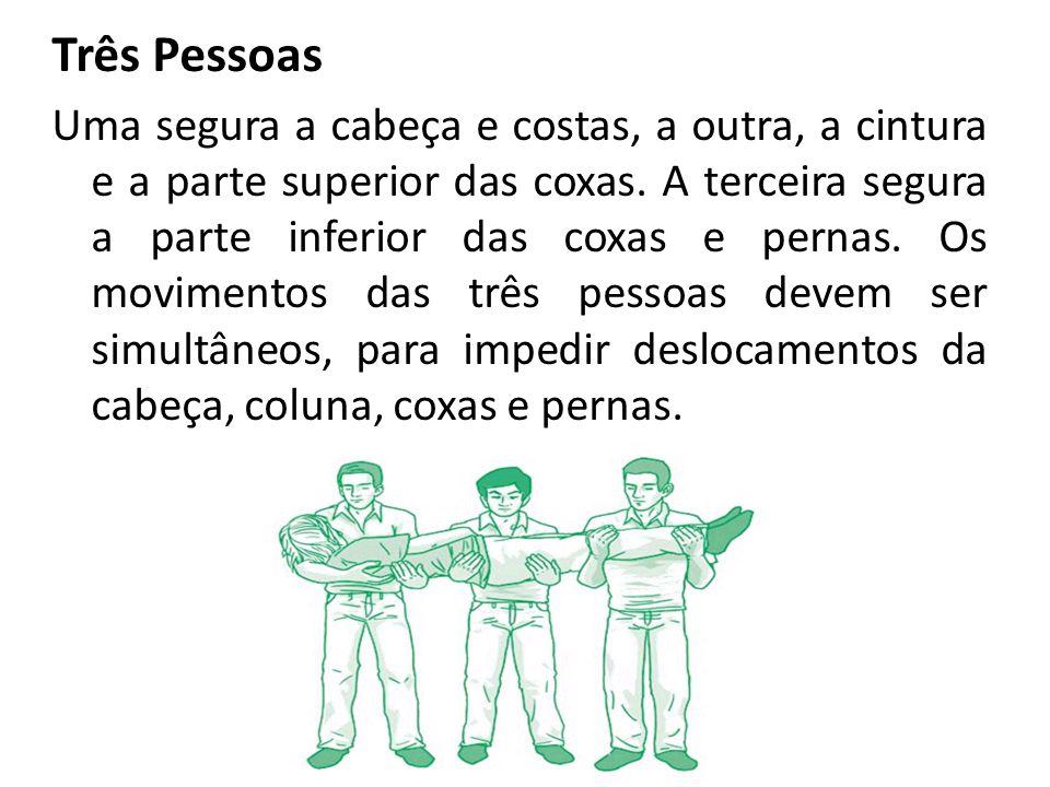 Três Pessoas Uma segura a cabeça e costas, a outra, a cintura e a parte superior das coxas. A terceira segura a parte inferior das coxas e pernas. Os