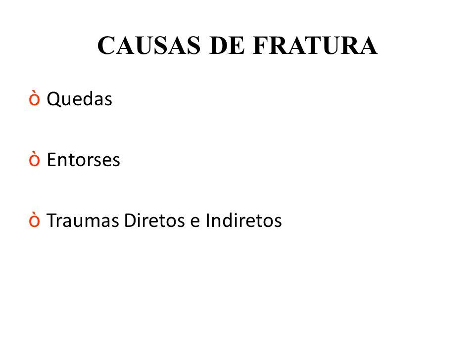 CAUSAS DE FRATURA òQuedas òEntorses òTraumas Diretos e Indiretos