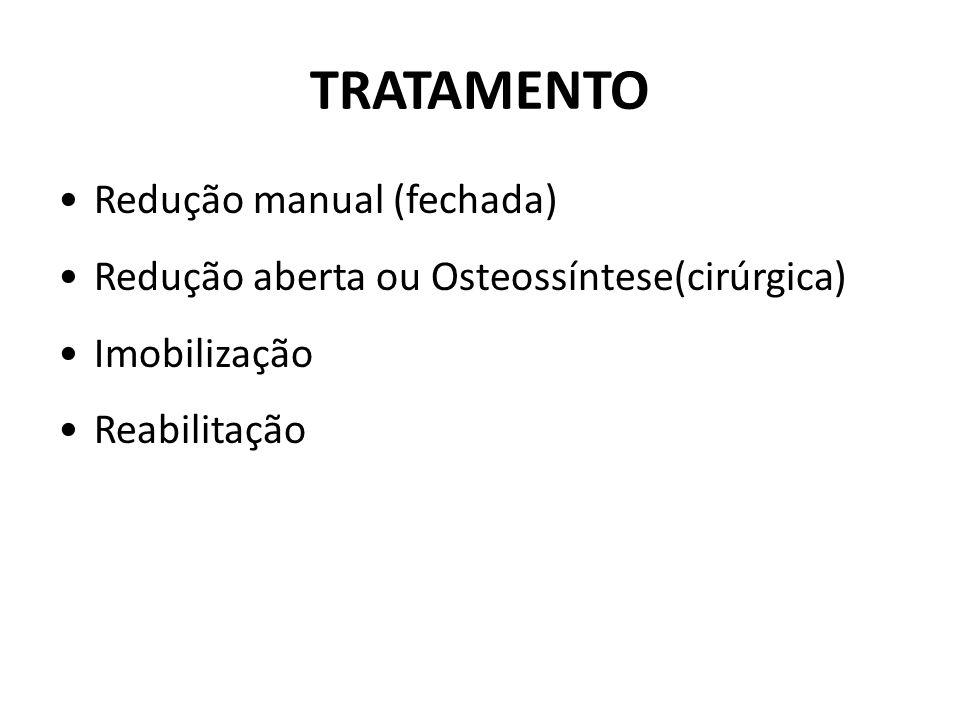 TRATAMENTO Redução manual (fechada) Redução aberta ou Osteossíntese(cirúrgica) Imobilização Reabilitação
