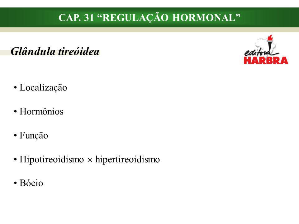 """CAP. 31 """"REGULAÇÃO HORMONAL"""" Glândula tireóidea Localização Hormônios Função Hipotireoidismo  hipertireoidismo Bócio"""
