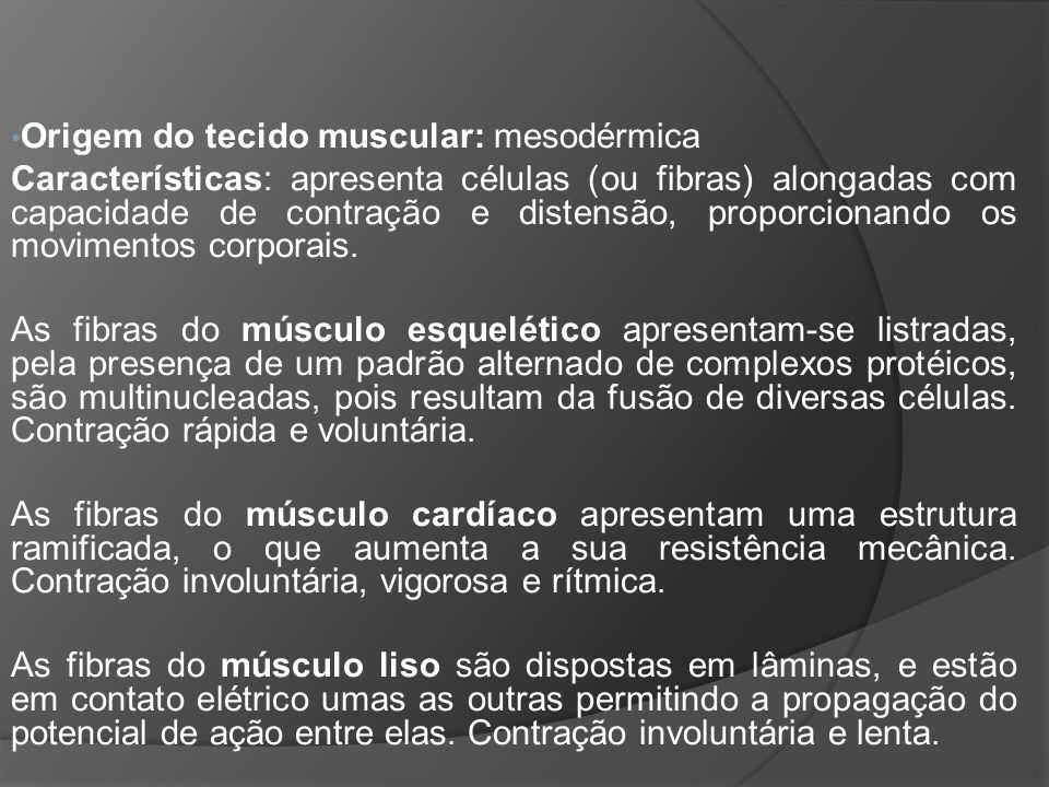 TECIDO MUSCULAR NOS VERTEBRADOS