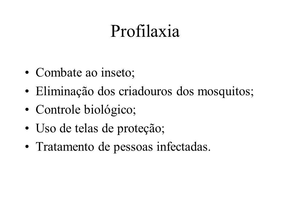 Profilaxia Combate ao inseto; Eliminação dos criadouros dos mosquitos; Controle biológico; Uso de telas de proteção; Tratamento de pessoas infectadas.