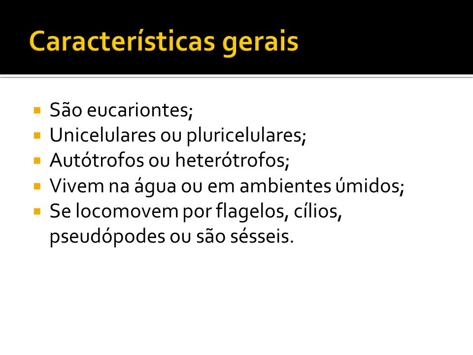  São eucariontes;  Unicelulares ou pluricelulares;  Autótrofos ou heterótrofos;  Vivem na água ou em ambientes úmidos;  Se locomovem por flagelos, cílios, pseudópodes ou são sésseis.