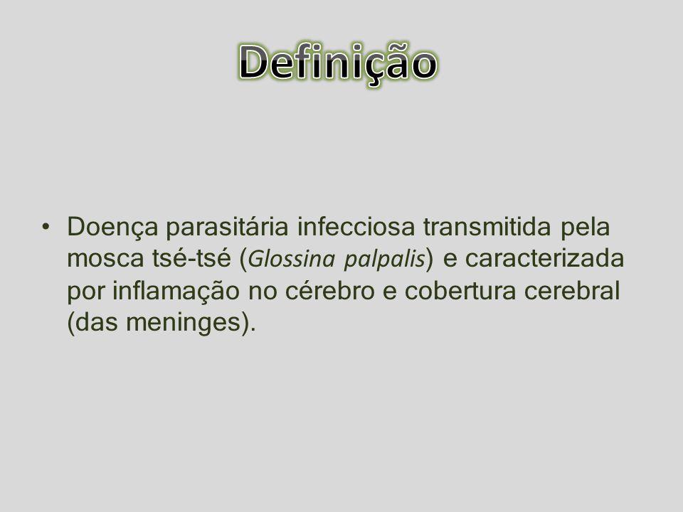 Doença parasitária infecciosa transmitida pela mosca tsé-tsé ( Glossina palpalis ) e caracterizada por inflamação no cérebro e cobertura cerebral (das
