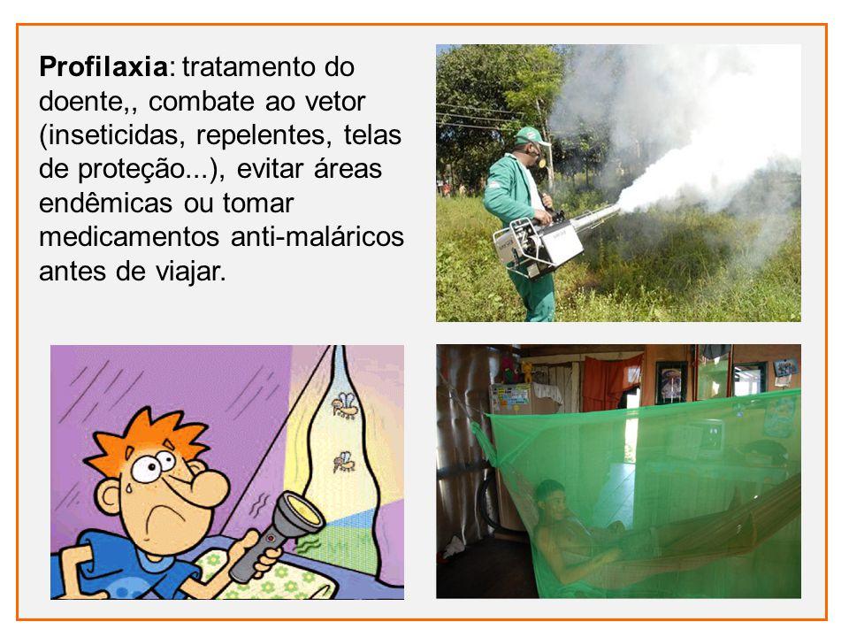 Profilaxia: tratamento do doente,, combate ao vetor (inseticidas, repelentes, telas de proteção...), evitar áreas endêmicas ou tomar medicamentos anti