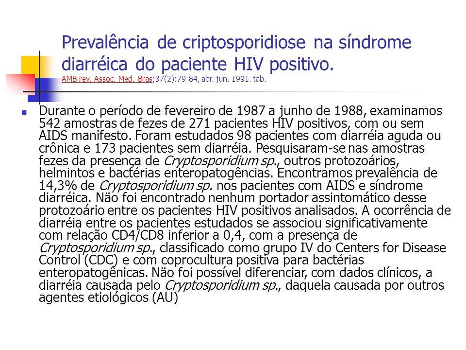 Prevalência de criptosporidiose na síndrome diarréica do paciente HIV positivo.