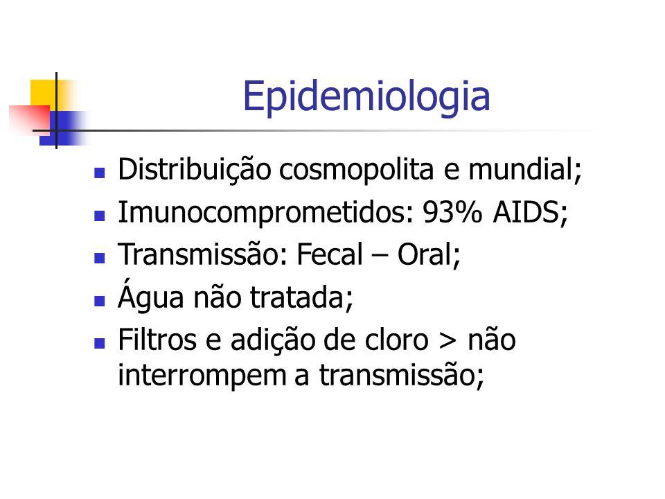 Epidemiologia Distribuição cosmopolita e mundial; Imunocomprometidos: 93% AIDS; Transmissão: Fecal – Oral; Água não tratada; Filtros e adição de cloro > não interrompem a transmissão;