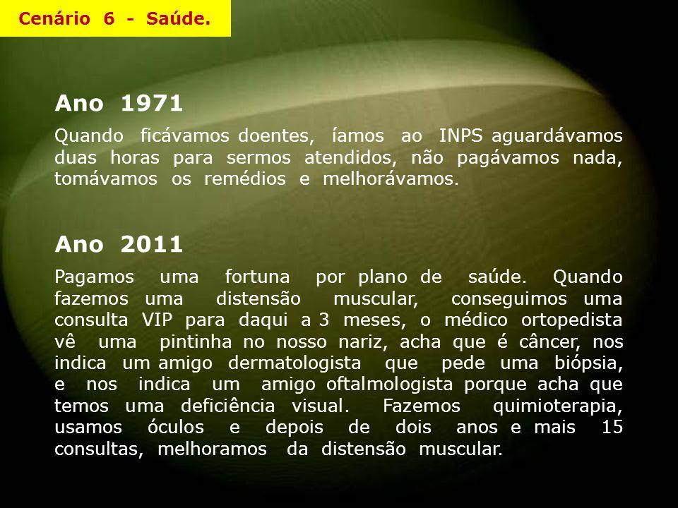 Ano 1971 Quando ficávamos doentes, íamos ao INPS aguardávamos duas horas para sermos atendidos, não pagávamos nada, tomávamos os remédios e melhorávamos.