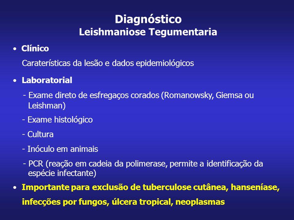 Clínico Caraterísticas da lesão e dados epidemiológicos Laboratorial - Exame direto de esfregaços corados (Romanowsky, Giemsa ou Leishman) - Exame his