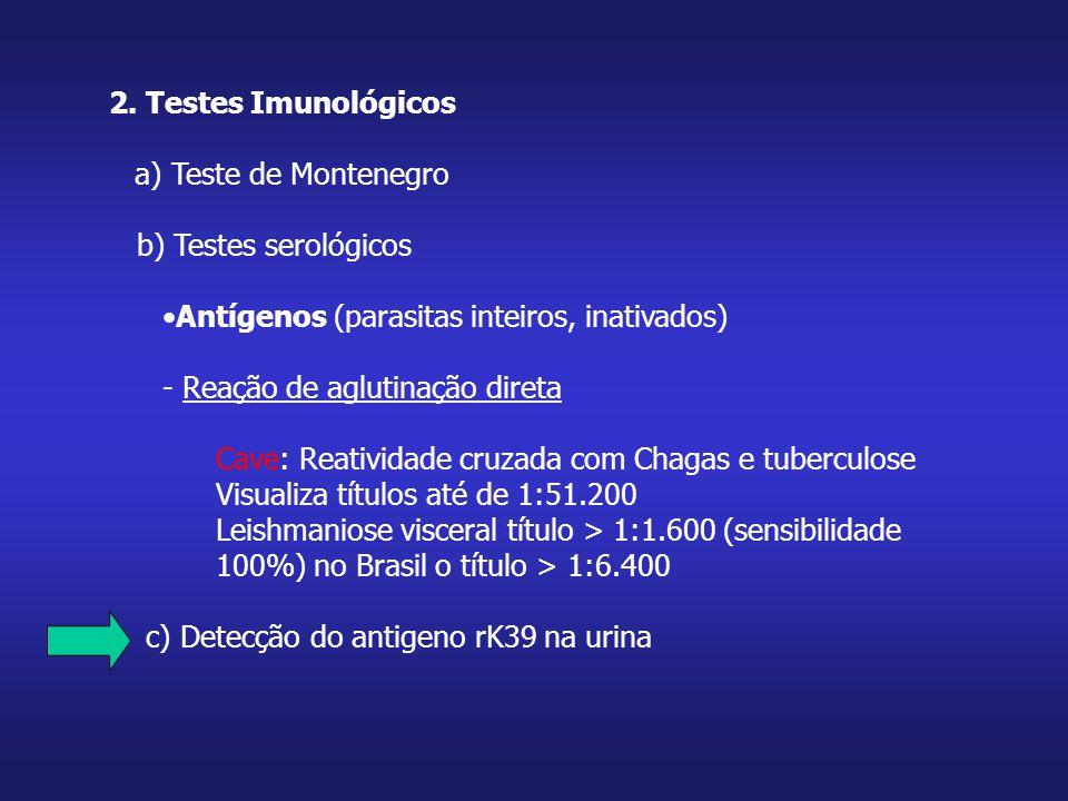 2. Testes Imunológicos a) Teste de Montenegro b) Testes serológicos Antígenos (parasitas inteiros, inativados) - Reação de aglutinação direta Cave: Re