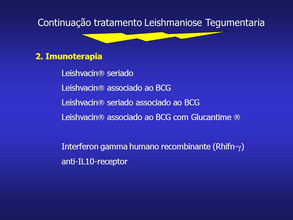 Continuação tratamento Leishmaniose Tegumentaria 2. Imunoterapia Leishvacin  seriado Leishvacin  associado ao BCG Leishvacin  seriado associado ao