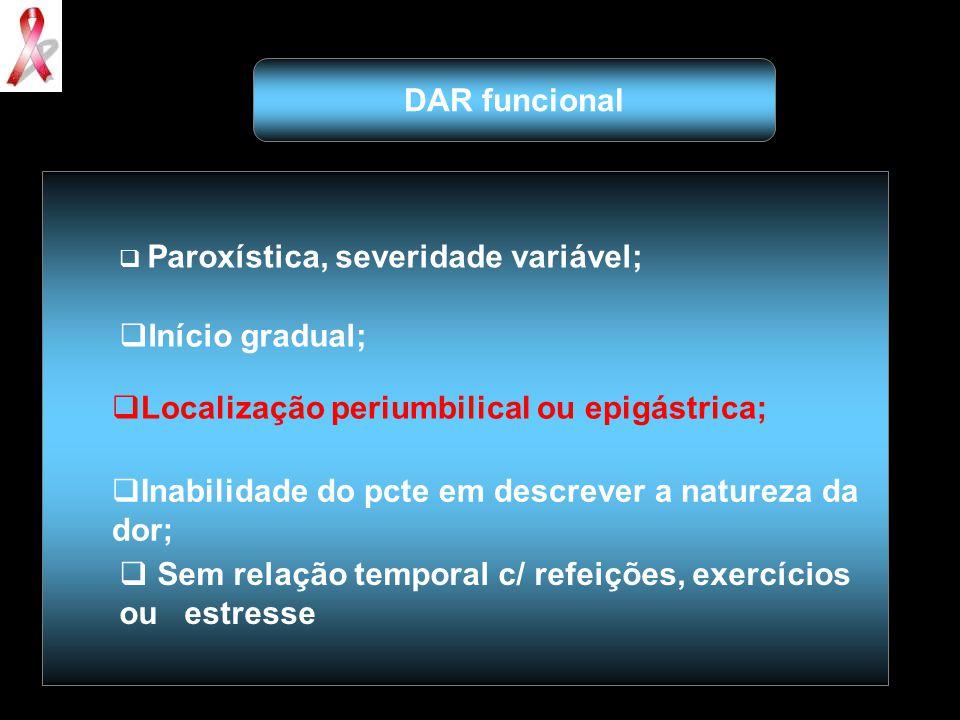  Paroxística, severidade variável;  Início gradual;  Localização periumbilical ou epigástrica;  Inabilidade do pcte em descrever a natureza da dor