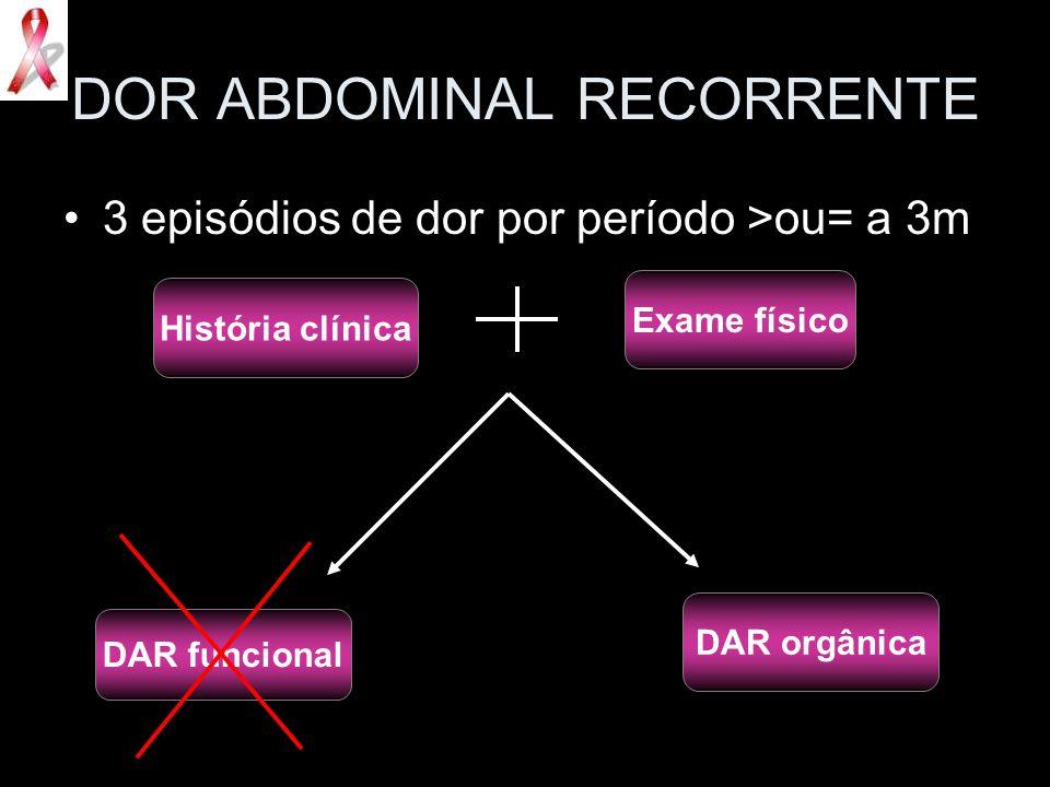 DOR ABDOMINAL RECORRENTE 3 episódios de dor por período >ou= a 3m História clínica Exame físico DAR funcional DAR orgânica