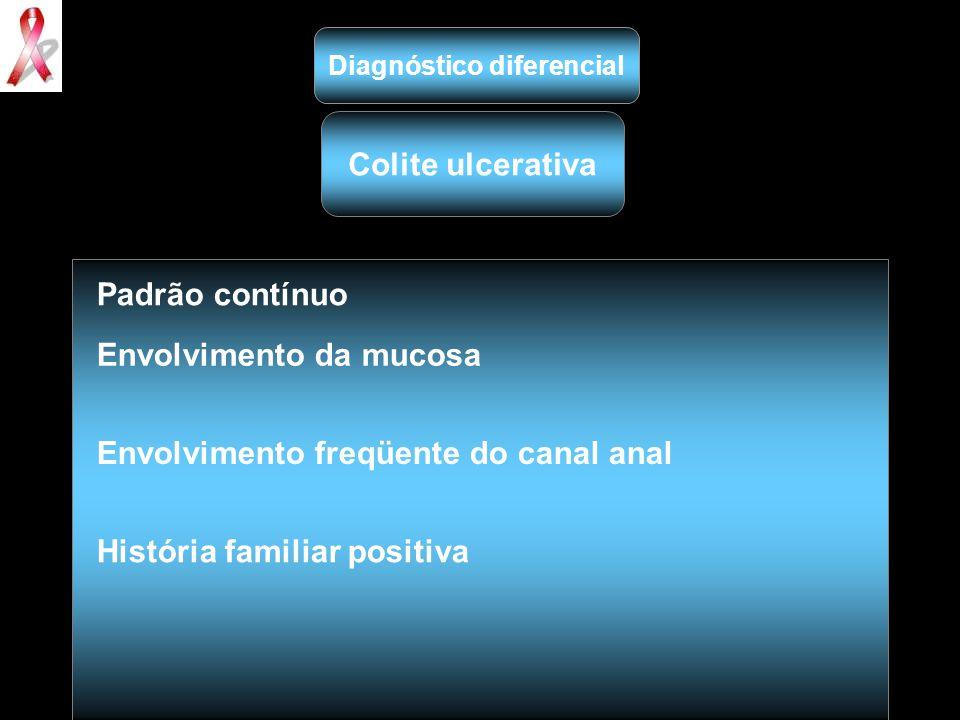 Diagnóstico diferencial Colite ulcerativa Padrão contínuo Envolvimento da mucosa Envolvimento freqüente do canal anal História familiar positiva