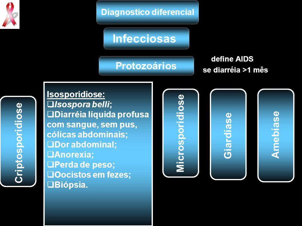 define AIDS se diarréia >1 mês Diagnostico diferencial Infecciosas Protozoários Isosporidiose:  Isospora belli;  Diarréia líquida profusa com sangue