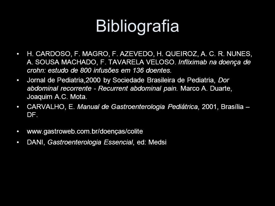 Bibliografia H. CARDOSO, F. MAGRO, F. AZEVEDO, H. QUEIROZ, A. C. R. NUNES, A. SOUSA MACHADO, F. TAVARELA VELOSO. Infliximab na doença de crohn: estudo