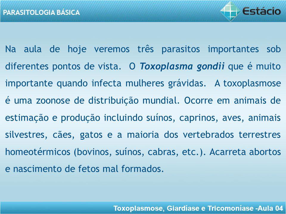 Toxoplasmose, Giardíase e Tricomoníase -Aula 04 PARASITOLOGIA BÁSICA Já a Giardia lamblia que causa a giardíase, uma das infecções parasitárias intestinais mais comuns em países em desenvolvimento.