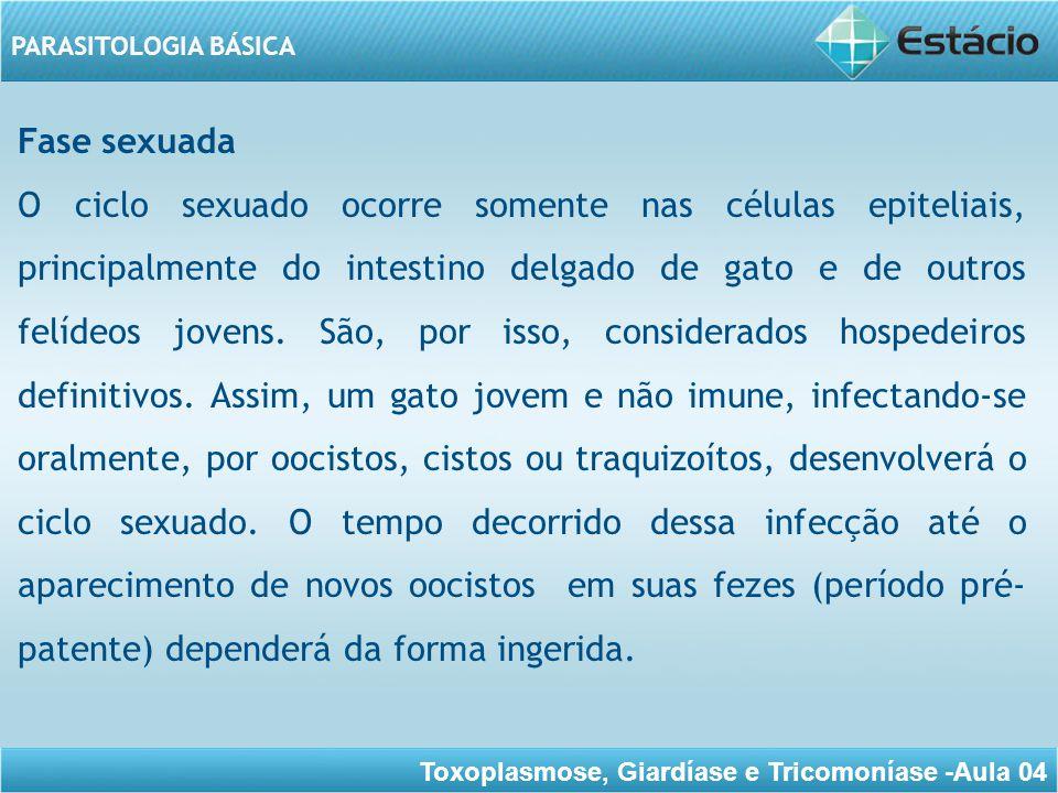 Toxoplasmose, Giardíase e Tricomoníase -Aula 04 PARASITOLOGIA BÁSICA Este período será de três dias a dez dias, quando a infecção ocorrer por cistos; 19 dias ou mais, pôr taquizoítos e 20 ou mais dias, por oocistos.