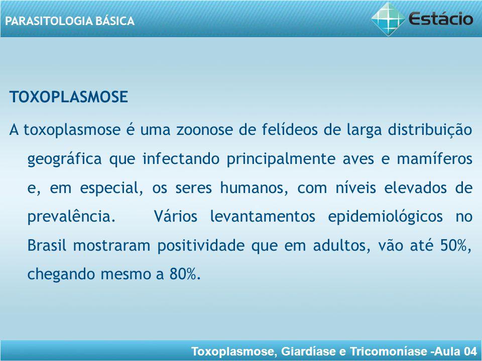 Toxoplasmose, Giardíase e Tricomoníase -Aula 04 PARASITOLOGIA BÁSICA No imunocompetente a toxoplasmose assume caráter benigno, pois o rápido desenvolvimento de imunidade humoral e celular restringe eficientemente a ação patogênica do parasito.