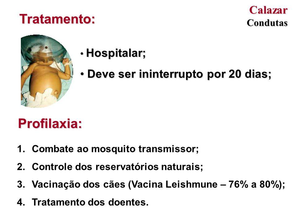 Hospitalar; Hospitalar; Deve ser ininterrupto por 20 dias; Deve ser ininterrupto por 20 dias; Tratamento: Profilaxia: 1.Combate ao mosquito transmissor; 2.Controle dos reservatórios naturais; 3.Vacinação dos cães (Vacina Leishmune – 76% a 80%); 4.Tratamento dos doentes.