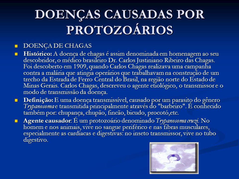 DOENÇAS CAUSADAS POR PROTOZOÁRIOS DOENÇA DE CHAGAS DOENÇA DE CHAGAS Histórico: A doença de chagas é assim denominada em homenagem ao seu descobridor, o médico brasileiro Dr.