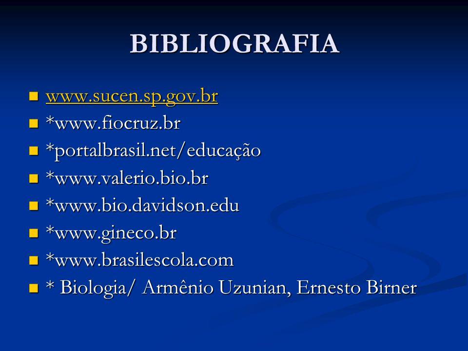 BIBLIOGRAFIA www.sucen.sp.gov.br www.sucen.sp.gov.br www.sucen.sp.gov.br *www.fiocruz.br *www.fiocruz.br *portalbrasil.net/educação *portalbrasil.net/educação *www.valerio.bio.br *www.valerio.bio.br *www.bio.davidson.edu *www.bio.davidson.edu *www.gineco.br *www.gineco.br *www.brasilescola.com *www.brasilescola.com * Biologia/ Armênio Uzunian, Ernesto Birner * Biologia/ Armênio Uzunian, Ernesto Birner