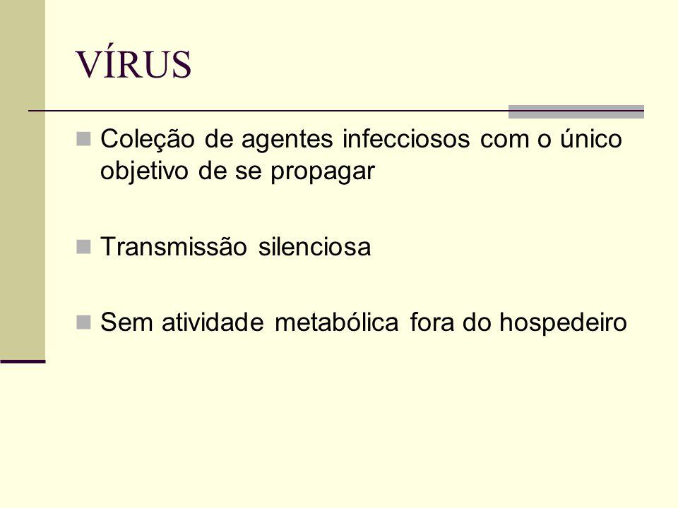 VÍRUS Coleção de agentes infecciosos com o único objetivo de se propagar Transmissão silenciosa Sem atividade metabólica fora do hospedeiro
