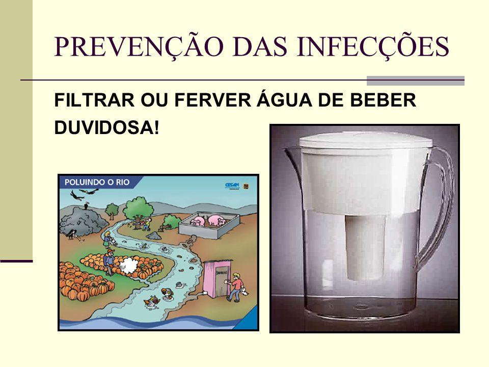PREVENÇÃO DAS INFECÇÕES FILTRAR OU FERVER ÁGUA DE BEBER DUVIDOSA!