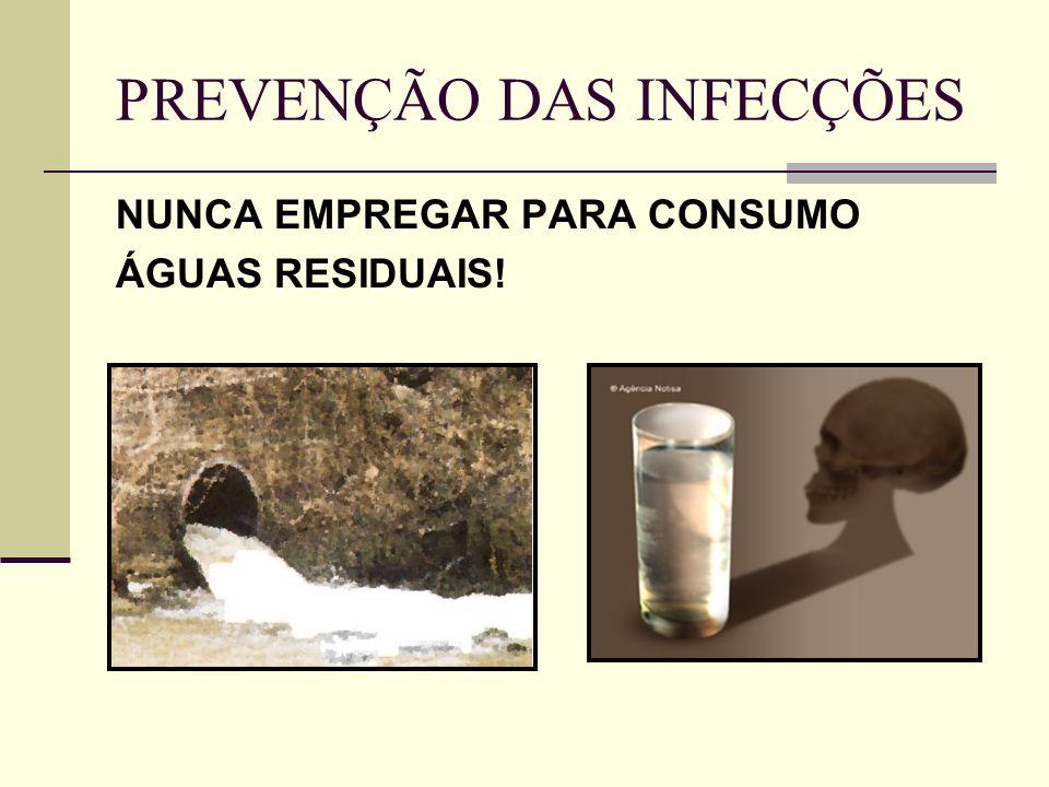 PREVENÇÃO DAS INFECÇÕES NUNCA EMPREGAR PARA CONSUMO ÁGUAS RESIDUAIS!
