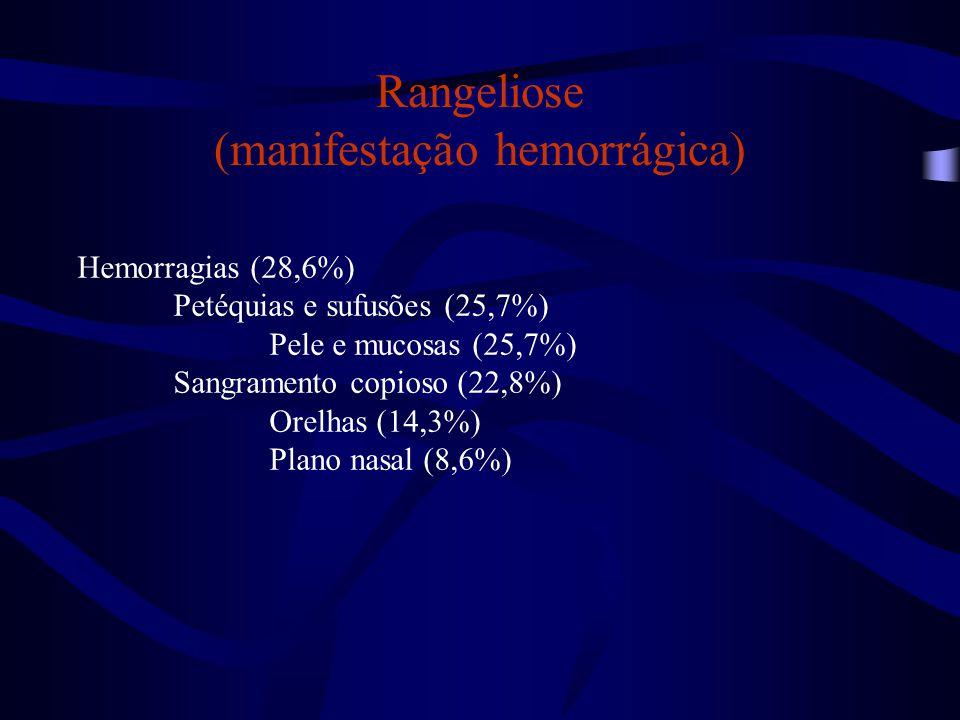 Rangeliose (outros sinais clínicos) Sinais gastrintestinais (71,4%) Diarreia (60%) Diarreia com sangue (48,6%) Vômito (34,3%) Desidratação (28,6%) Desidratação leve ou moderada (22,8%) Desidratação acentuada (5,7%) Emagrecimento (17,1%)