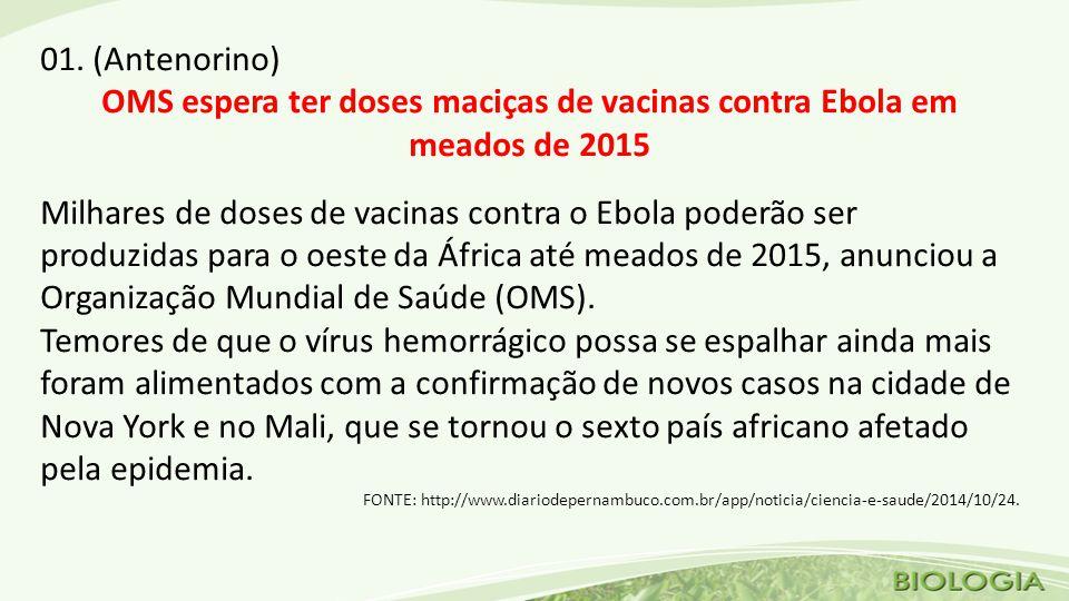01. (Antenorino) OMS espera ter doses maciças de vacinas contra Ebola em meados de 2015 Milhares de doses de vacinas contra o Ebola poderão ser produz