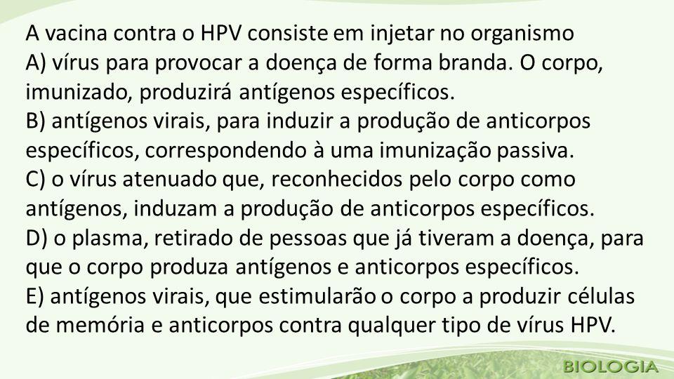A vacina contra o HPV consiste em injetar no organismo A) vírus para provocar a doença de forma branda.