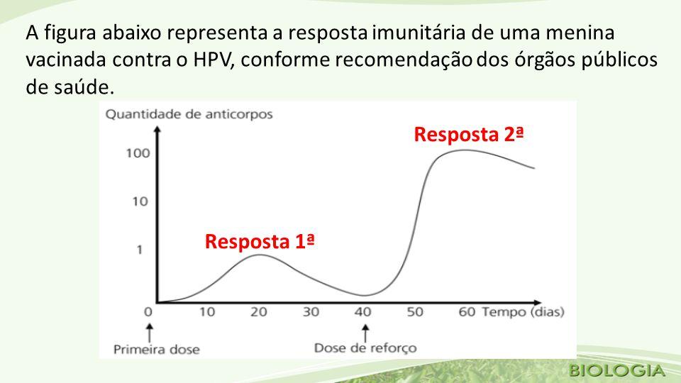 Após a dose de reforço, a resposta imunitária da menina é mais rápida, porque A) a quantidade do antígeno específico inoculado na dose de reforço é maior.