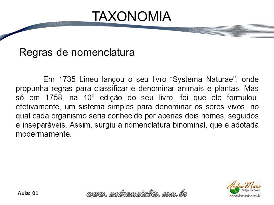 Aula: 01 TAXONOMIA Regras de nomenclatura Em 1735 Lineu lançou o seu livro Systema Naturae , onde propunha regras para classificar e denominar animais e plantas.