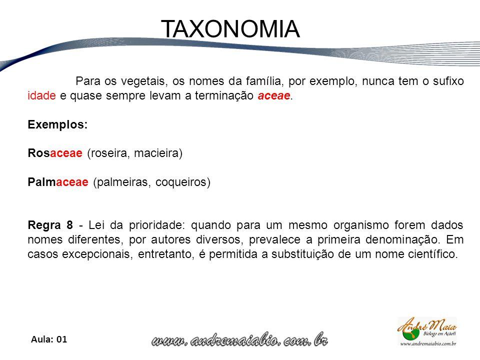 Aula: 01 TAXONOMIA Para os vegetais, os nomes da família, por exemplo, nunca tem o sufixo idade e quase sempre levam a terminação aceae.