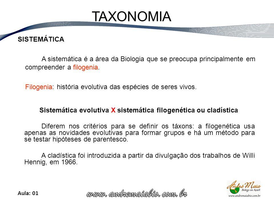 Aula: 01 TAXONOMIA SISTEMÁTICA filogenia A sistemática é a área da Biologia que se preocupa principalmente em compreender a filogenia.