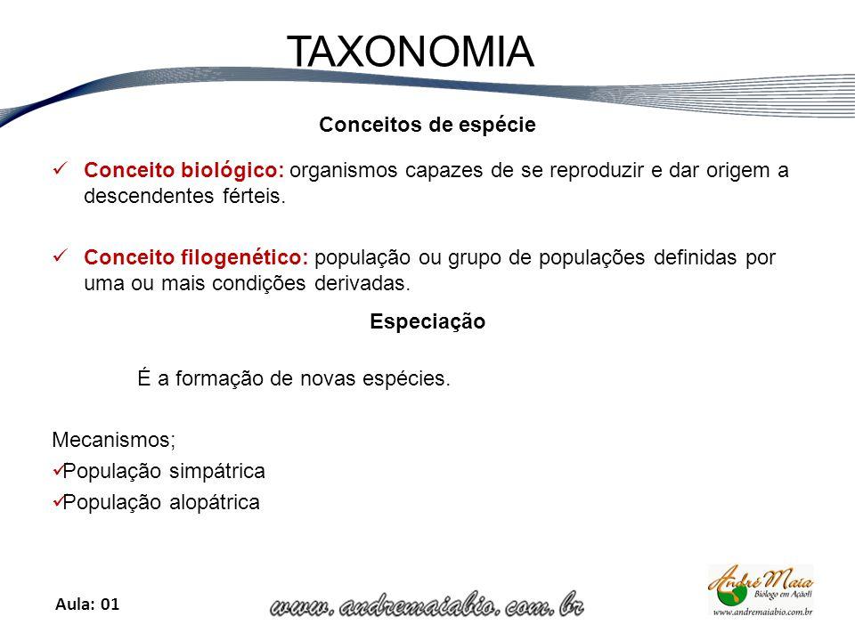 Aula: 01 TAXONOMIA Conceitos de espécie Conceito biológico: organismos capazes de se reproduzir e dar origem a descendentes férteis.