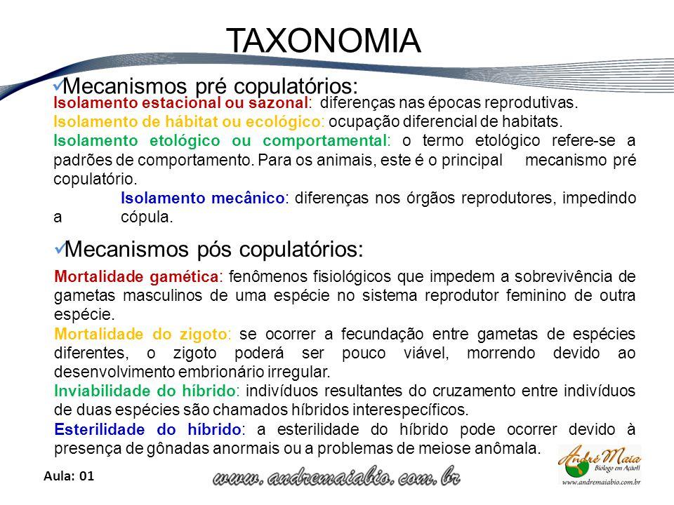 Aula: 01 TAXONOMIA Isolamento estacional ou sazonal: diferenças nas épocas reprodutivas.