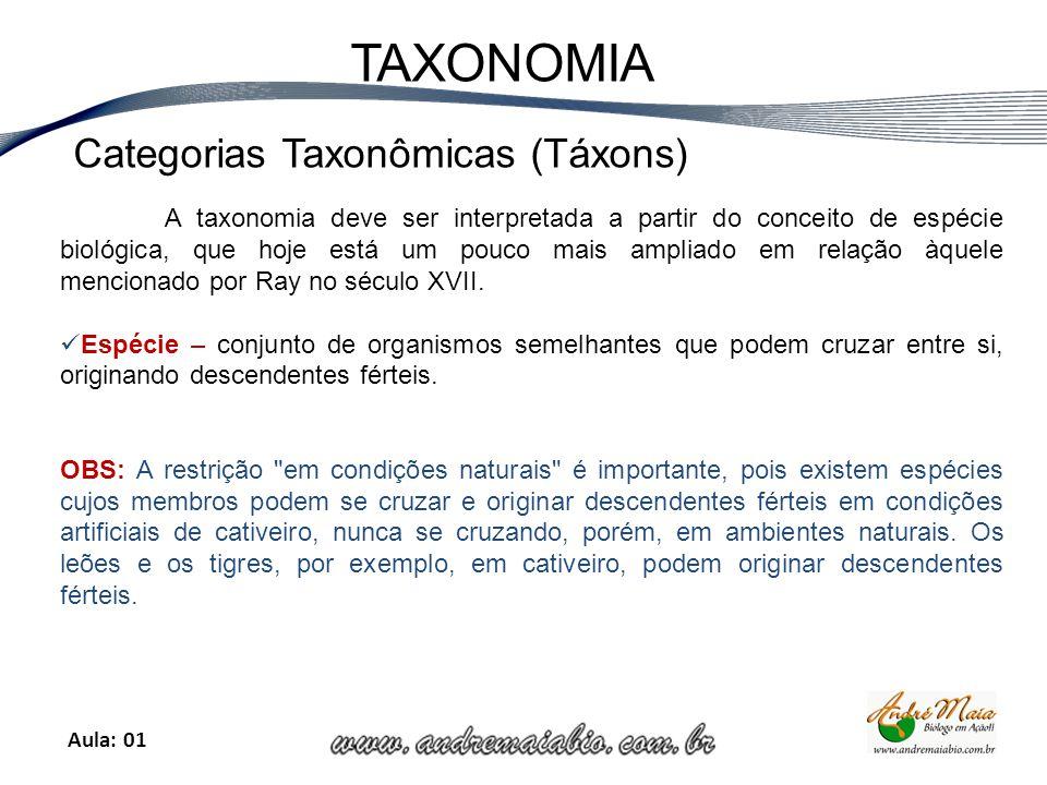 Aula: 01 TAXONOMIA A taxonomia deve ser interpretada a partir do conceito de espécie biológica, que hoje está um pouco mais ampliado em relação àquele mencionado por Ray no século XVII.